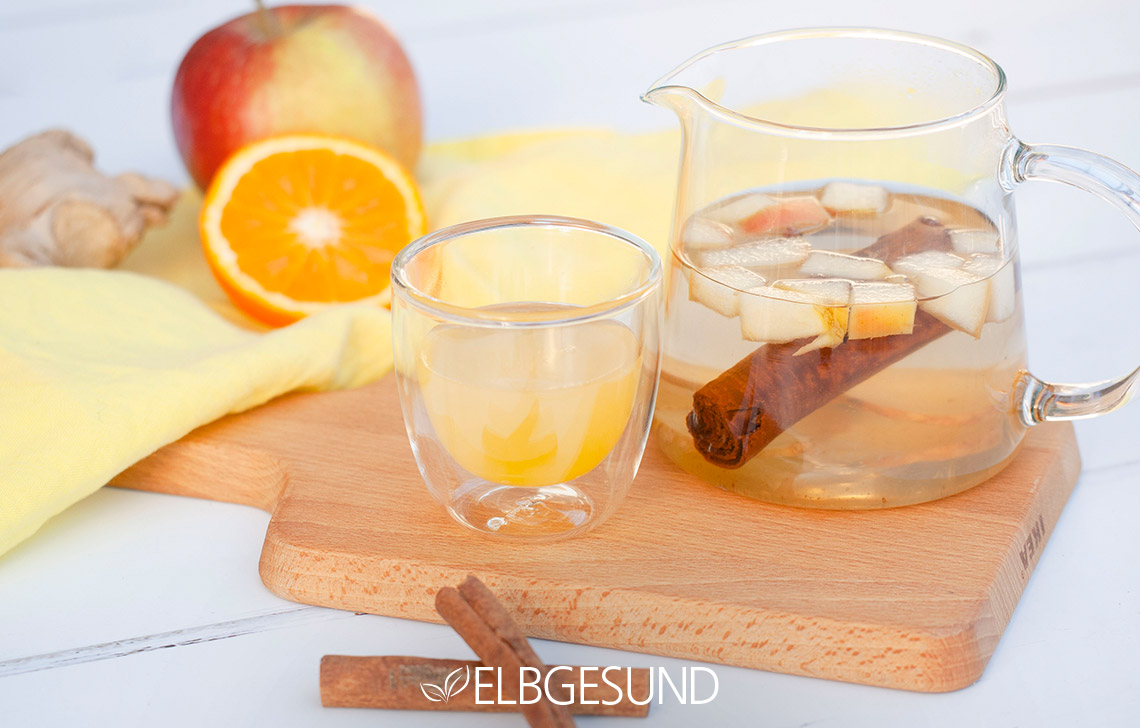 orangen Apfel Ingwer Limonade Drink Tablett